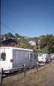 Een rij campers