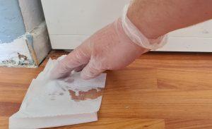 Foto van een papieren doekje dat de chlooroplossing opneemt.