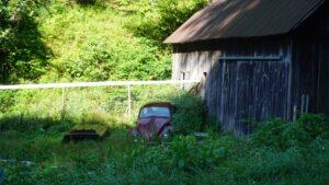 Foto van een slecht onderhouden tuin met afval erin.